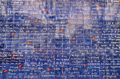 Die ich liebe dich Wand von Paris Lizenzfreie Stockbilder