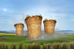 die Idee der Wiedergabe 3D, die es zeigt, ist Zeit, Luftverschmutzung auszustrahlen zu beendigen stockfoto