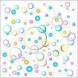 Die Idee des Hintergrunds eines Kindes in einer Vielzahl von Farben Ballone und Spiralen von festlichen Farben Regenbogen und Wol vektor abbildung