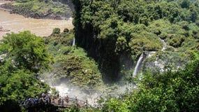 Die Iguaçu-Wasserfälle auf der Grenze von Brasilien und von Argentinien in Argentinien stockfoto