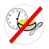 Die Ikone, die Regel darstellt - essen Sie nicht nach sechs Die Motivation für verlierende Gewichtsfrauen Diätsymbol Lizenzfreie Stockbilder