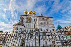 Die Ikone und die Hauben von Feodorovsky-Kathedrale (Kathedrale der Ikone unserer Dame Feodorovskaya) Lizenzfreie Stockfotografie