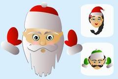 Die Ikone von Santa Claus-Kopf mit Frau und Elfe auf weißem Hintergrund Stockbild