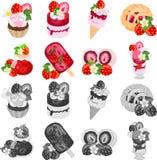 Die Ikonen von verschiedenen Erdbeerbonbons Lizenzfreie Stockfotos