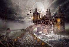 Die Illustration auf einem Halloween-Thema lizenzfreie stockfotos