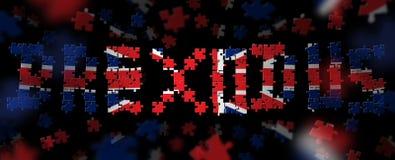 die Illustration 3D des Wortes BREXODUS, gemacht aus Puzzlespiel heraus bessert in den Farben der britischen Flagge aus Lizenzfreie Stockfotos
