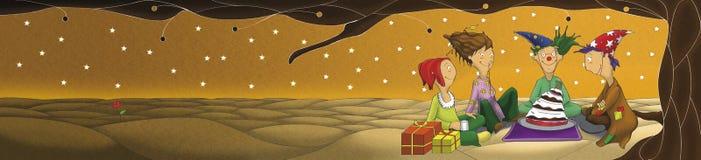 Die Illustration der Geburtstagsfeier unter dem Baum Stockbild