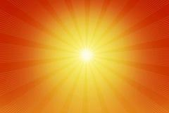 Die Illustration der glänzenden Sonne und der Strahlen Lizenzfreie Stockfotografie
