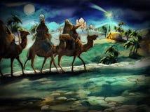 Die Illustration der heiligen Familie und drei Könige Stockfoto