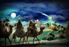 Die Illustration der heiligen Familie und drei Könige Stockfotos