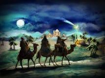 Die Illustration der heiligen Familie und drei Könige Lizenzfreie Stockfotos