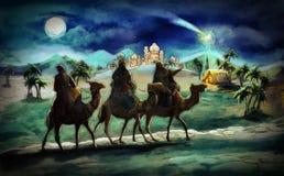 Die Illustration der heiligen Familie und drei Könige Stockbild