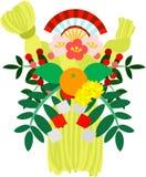 Die Illustration, die im Buchstaben der Grüße des neuen Jahres verwendbar ist (die Girlande des neuen Jahres gemacht vom heiligen Stockbilder
