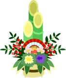 Die Illustration, die im Buchstaben der Grüße des neuen Jahres verwendbar ist (Kiefern- und Bambusdekorationen des neuen Jahres) Lizenzfreies Stockfoto