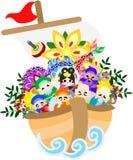 Die Illustration, die im Buchstaben der Grüße des neuen Jahres verwendbar ist (sieben Gottheiten Glück) Lizenzfreie Stockbilder