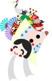 Die Illustration, die ist verwendbar im Buchstaben der Grüße des neuen Jahres (Drachen) Stockfoto