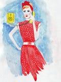 Die Illustration, die Modemädchen in der roten Kleidung skizziert, nennt durch gelbes Telefon Stockfotos