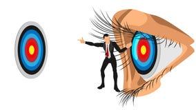 Die Illustration eines Führers gibt Richtung zum Fokus auf dem Ziel lizenzfreie abbildung