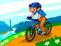Die Illustration eines Karikaturjungen auf dem Fahrrad Stockbilder