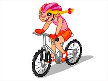 Die Illustration eines Karikaturmädchens auf einem Fahrrad Stockbild