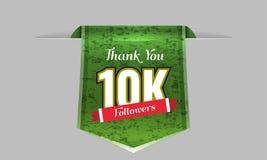 die Illustration mit 10000 Nachfolgern mit danken Ihnen auf einem Band Auch im corel abgehobenen Betrag Stockbilder