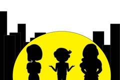 Die Illustration stilvoll, hell und beschatten Konzeptwahl mit 1 Männern und mit 2 Frauen stock abbildung