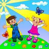 Die Illustration von glücklichen Karikaturkindern Lizenzfreies Stockbild