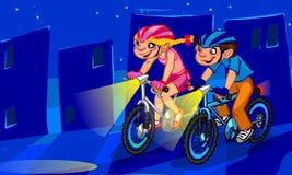 Die Illustration von Radfahrenkindern Lizenzfreies Stockbild