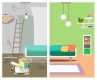 Die Illustration wird in zwei Bildern mit der Reparatur des Hauses vorher und nachher im Stil der Ebene dargestellt vektor abbildung