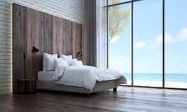 Die Innenarchitektur und die Backsteinmauer des minimalen Schlafzimmers masern Hintergrund- und Seeansicht lizenzfreie abbildung