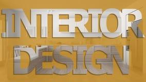 Die Innenarchitekturphrase, Aufschrift beschriftend, beschriftet Worthintergrund, über skandinavischer hölzerner Küche, Pastellfa vektor abbildung