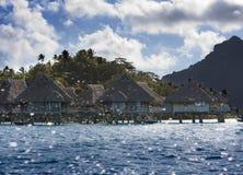 Die Insel mit Palmen im Meer spritzt durch von den Wellen Stockbild