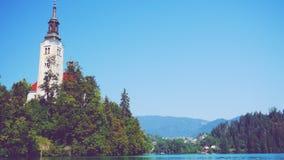 Die Insel am See geblutet, Slowenien stockfotos