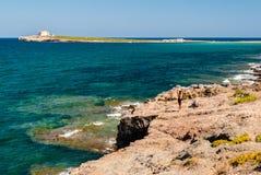 Die Insel von Capo Passero in Süd-Sizilien stockfoto