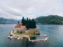 Die Insel von Gospa Od Skrpjela, Kotor-Bucht, Montenegro Lufts Stockfotografie