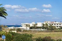 Die Insel von Kreta, Griechenland, das Meer und das Hotel übersehend stockfotos