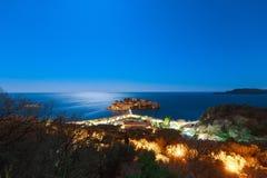 Die Insel von Sveti Stefan nachts Adria Se das Montenegro-, Lizenzfreie Stockbilder
