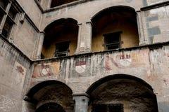 Die interne Struktur des Issogne-Schlosses, Issogne, Italien Lizenzfreies Stockfoto