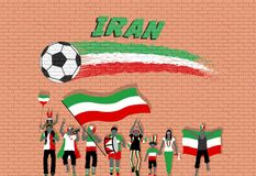 Die iranischen Fußballfane, die mit dem Iran zujubeln, kennzeichnen Farben vor vektor abbildung