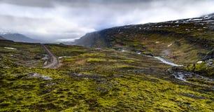 Die isländische Ringstraße, die herum das ganze Programm durchzieht Lizenzfreie Stockfotos