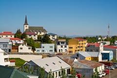 Die isländische Stadt Borgarnes Stockbild