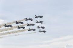 Die italienische aerobatic Patrouille in der Aktion Stockbild