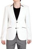 Die Jacke der Männer im weißen, lokalisierten Bild auf einem weißen Hintergrund. Lizenzfreie Stockfotos