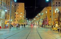 Die Jaffa-Straße am Abend Stockbild