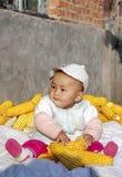 Die Jahreszeit des Ergebnisses spielt das Baby von corn2 Lizenzfreies Stockbild