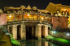 Die japanische Brücke im alten Viertel von Hoi An Lizenzfreies Stockbild