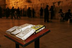 DIE JERUSALEM-KLAGEMAUER NACHTS Stockfotografie