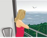 Die junge Frau auf einem Balkon lizenzfreie abbildung
