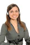 Die junge Frau in den Kopfhörern Stockbilder