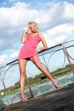 Die junge Frau in der rosafarbenen Kleidung. Lizenzfreie Stockfotografie